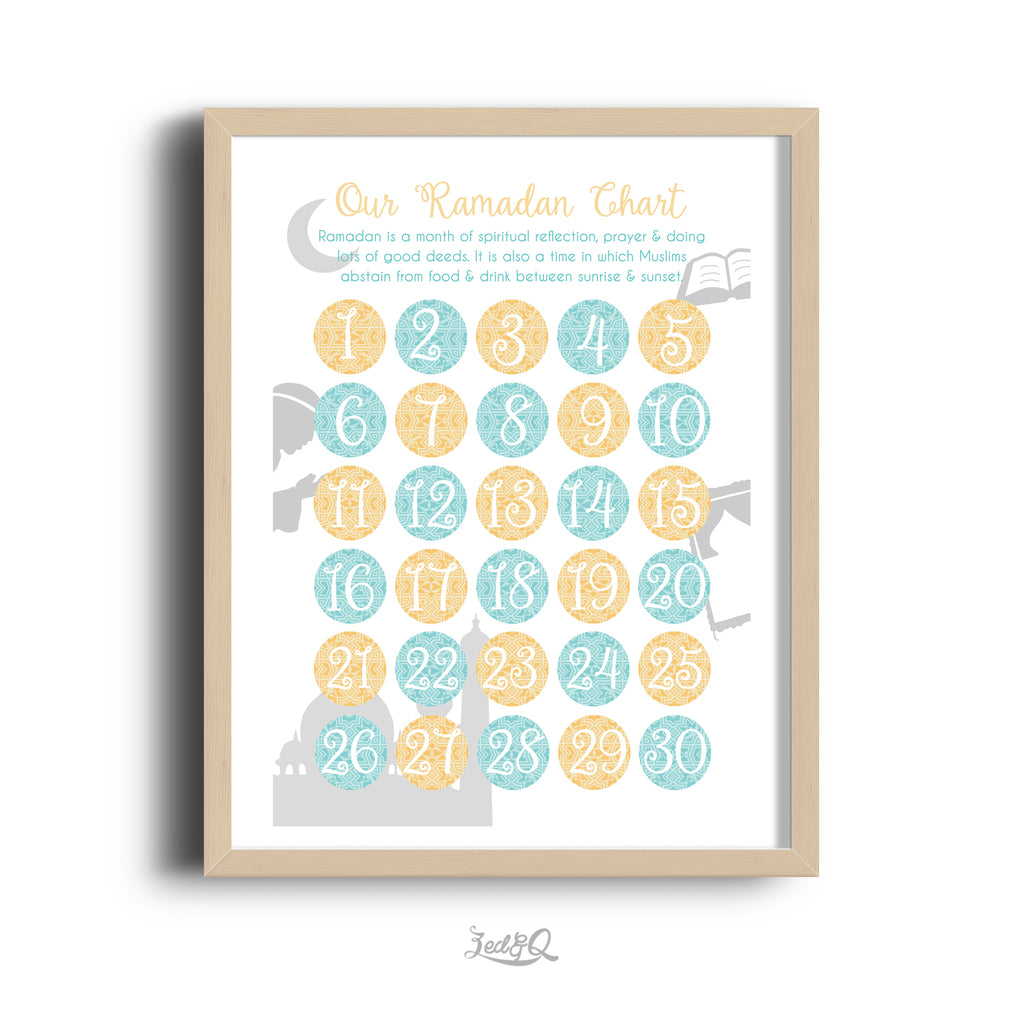 Zed&Q Islamic Product '30 Day Activity Ramadan Calendar' {Arabesque}  Digital Download Digital Download