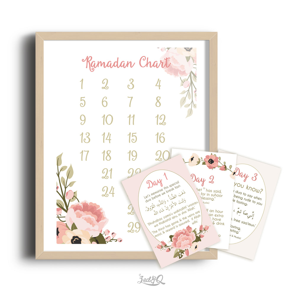 Zed&Q Islamic Product '30 Day Activity Ramadan Calendar' {Floral}  Digital Download Digital Download