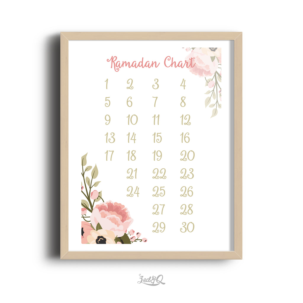 Zed&Q Islamic Product 'Ramadan Calendar' {Floral}  Digital Download Digital Download