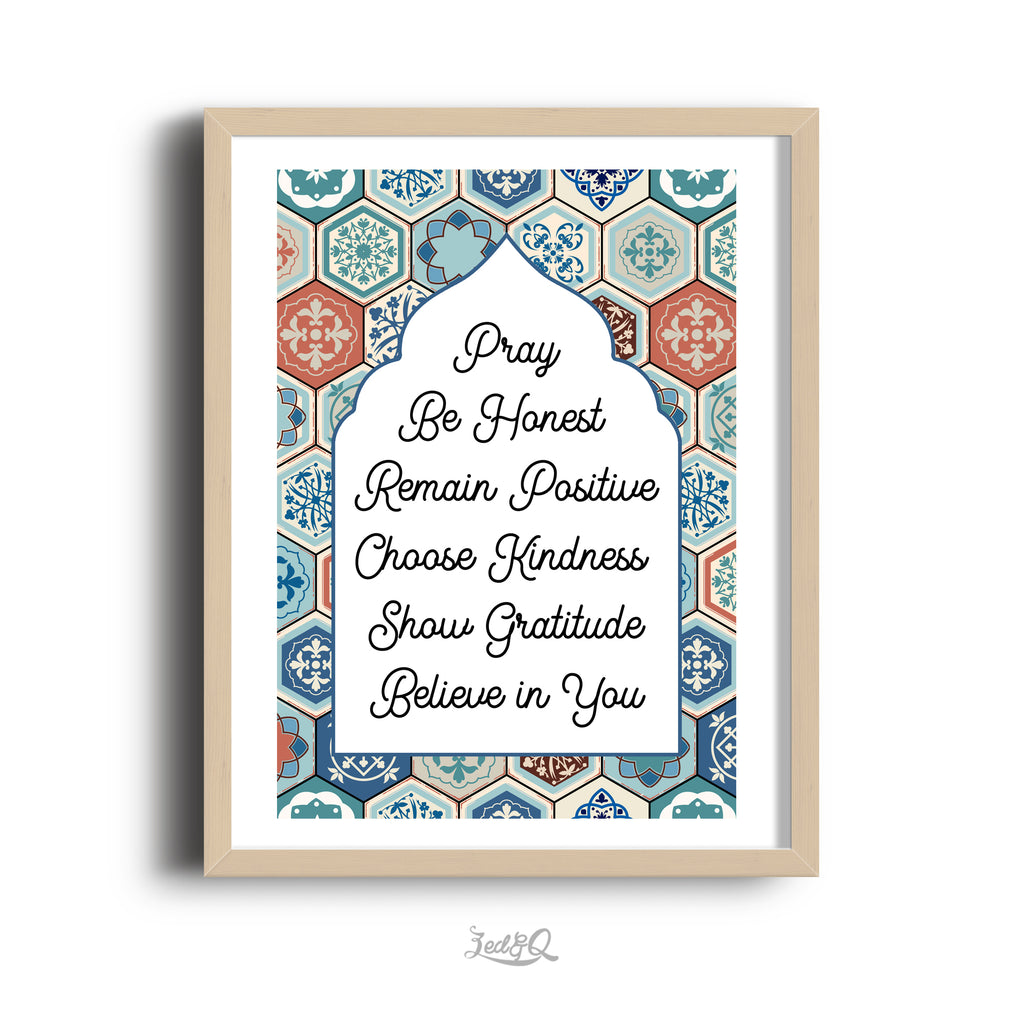 Zed&Q Islamic Product {Moroccan Bliss} House Values Print