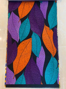 Purple, Orange, Blue Leaf Print