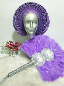 Lavender Autogele with matching feather fan