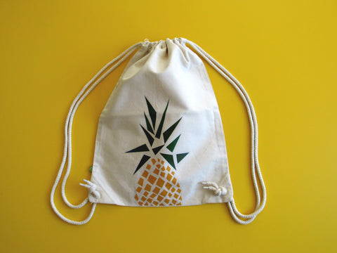 Gym bag en coton organique, motif ananas
