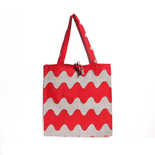 Tote bag en wax rouge, motif zig zag