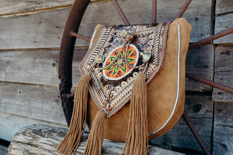 LiLou Leather Bag with Beaded Mandala and Embellishments