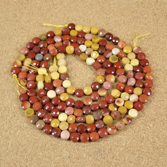 Mookaite Faceted Coin Beads