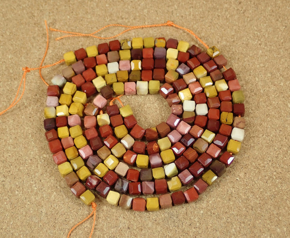 Mookaite Faceted Cube Beads
