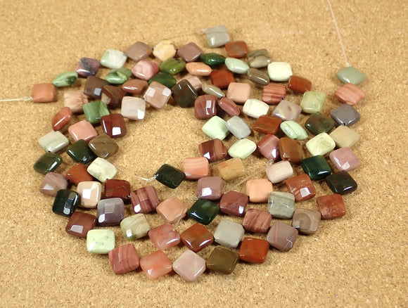 Imperial Jasper Faceted Square Beads
