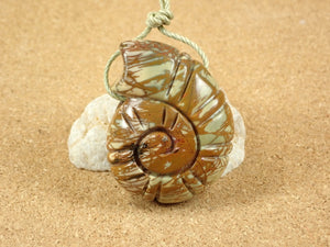 Red Creek Jasper Carved Shell Pendant