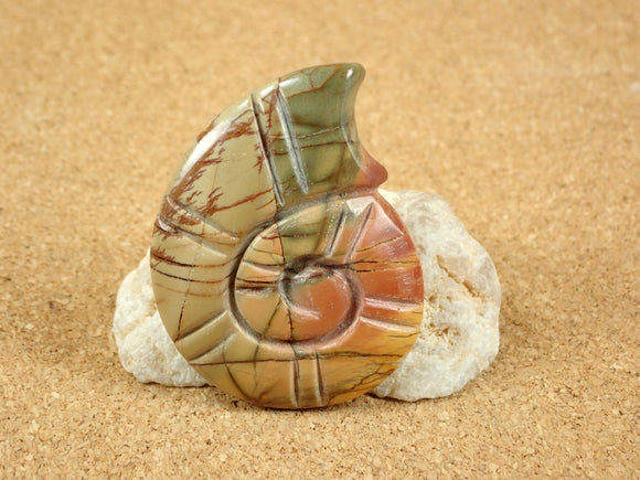 Red Creek Jasper Carved Shell Cabochon