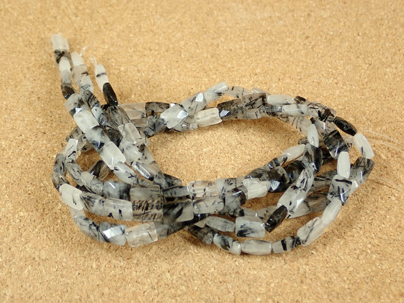 Tourmalinated Quartz Faceted Rectangle Beads