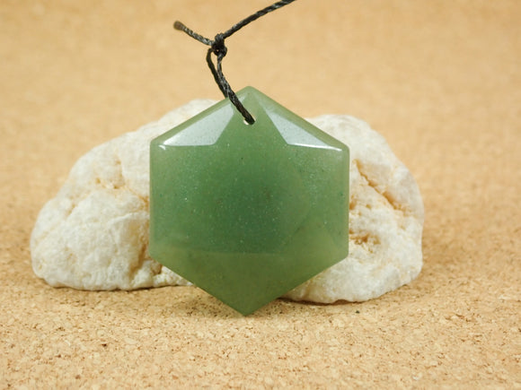 Aventurine Geometric Hexagon Pendant