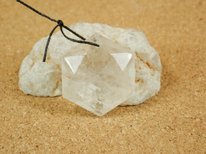 Clear Quartz Geometric Hexagon Pendant