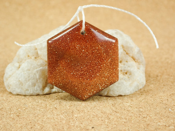 Goldstone Geometric Hexagon Pendant