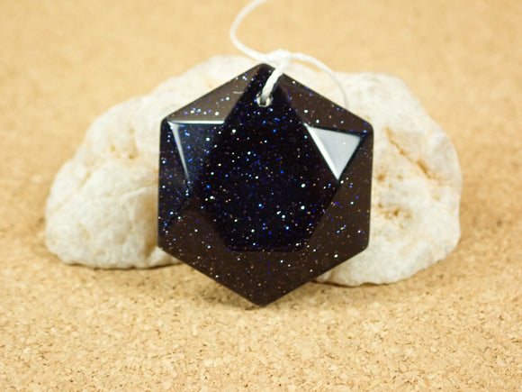 Blue Goldstone Geometric Hexagon Pendant