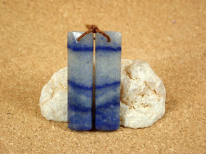Blue Dragon Vein Rectangle Earring Pair