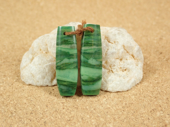African Green Jade Rectangle Earring Pair