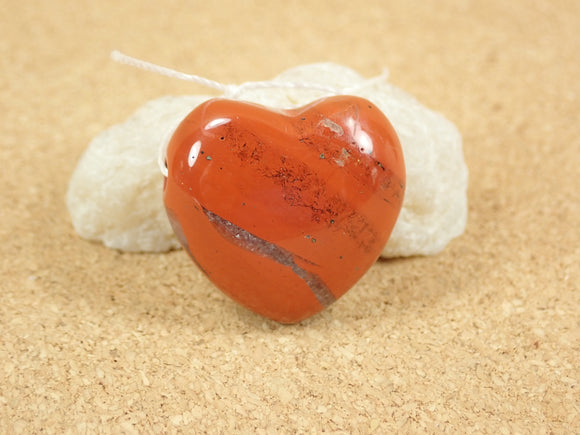 Red Jasper Heart Pendant (large hole)