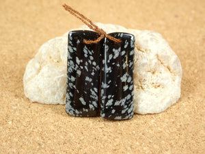 Snowflake Obsidian Rectangle Earring Pair