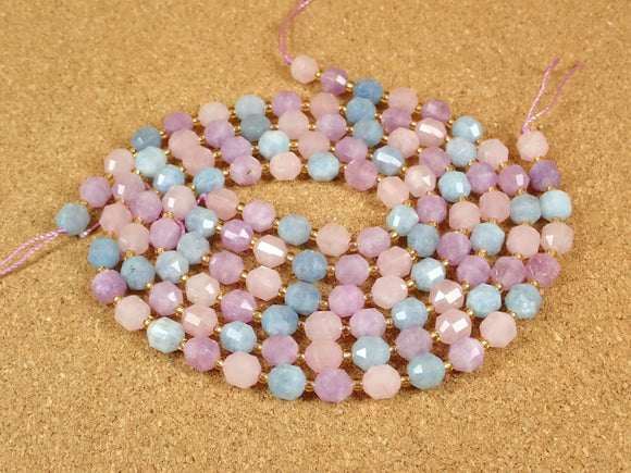 Rose Quartz, Aquamarine and Amethyst Faceted Barrel Beads
