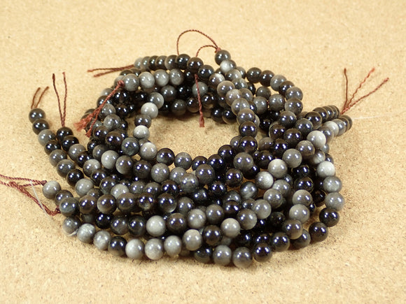 Silver Sheen Obsidian Round Beads
