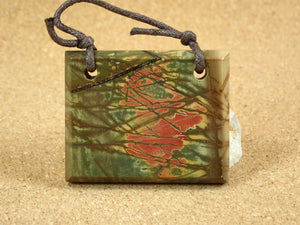 Red Creek Jasper Double Front Drilled Rectangle Pendant