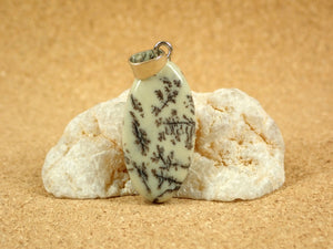 Dendritic Jasper Oval Pendant with Bail
