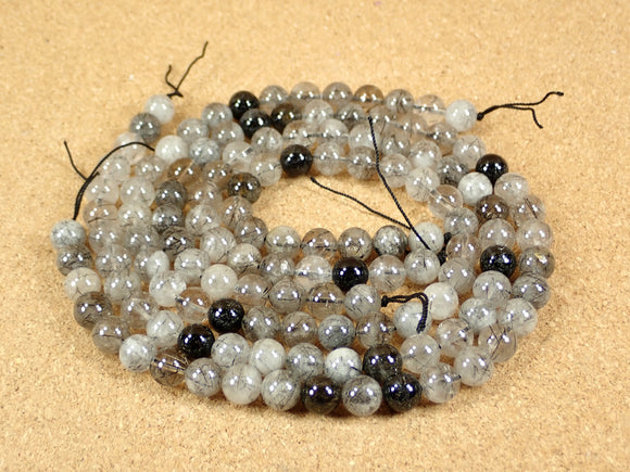 Tourmalinated Quartz Round Beads