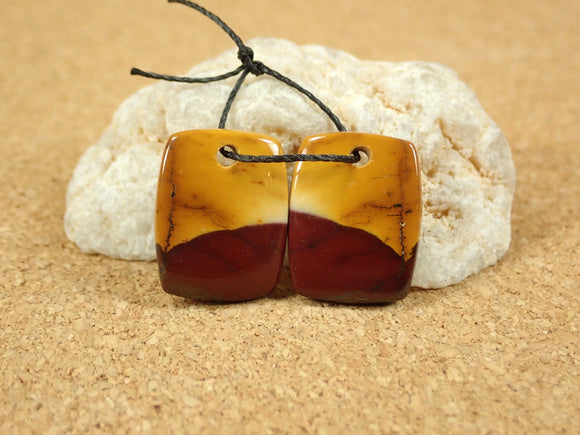 Mookaite Rectangle Earring Pair