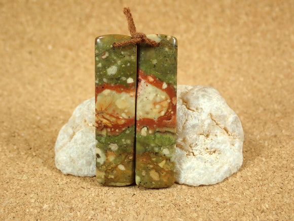 Owyhee Picture Jasper Rectangle Matched Beads