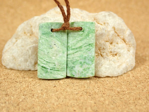 Chrysoprase Rectangle Earring Pair