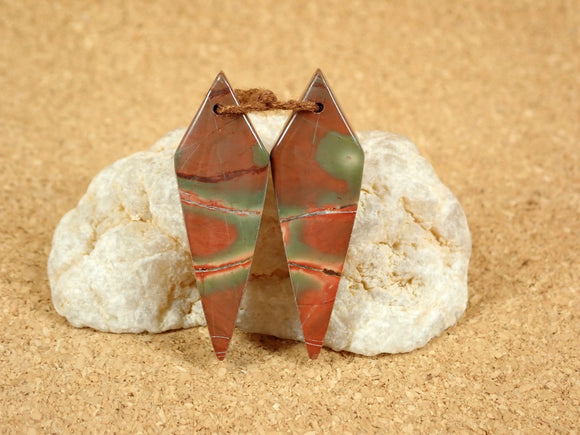 Red Creek Jasper Diamond Shaped Earring Pair