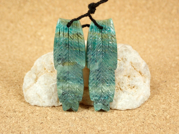 Chrysocolla Feather Matched Pair