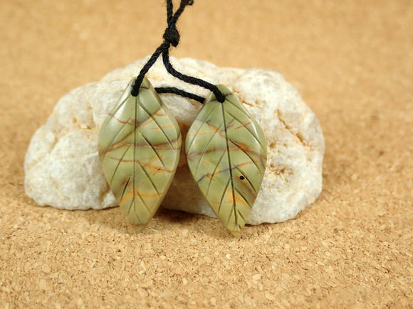 Red Creek Jasper Leaf Earring Pair