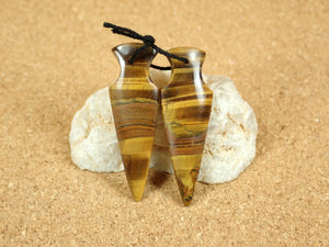 Tiger Eye Spike Arrow Earring Pair