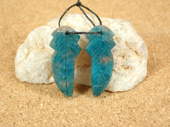 Apatite Feather Earring Pair