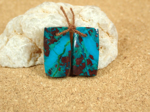 Chrysocolla Rectangle Earring Pair