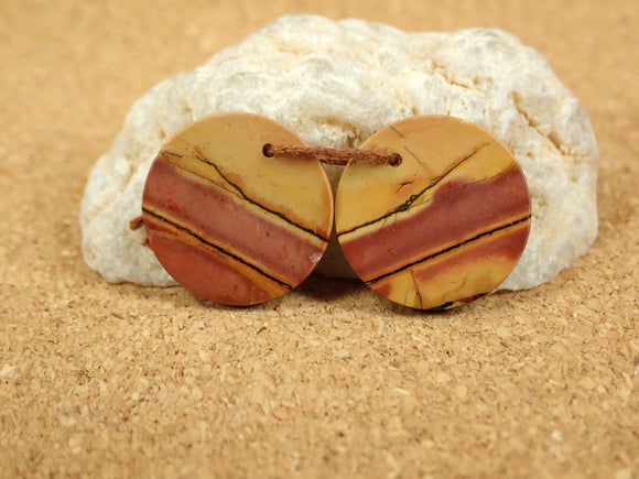 Red Creek Jasper Round Earring Pair