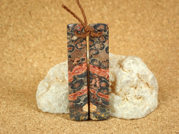 Leopard Skin Jasper Rectangle Earring Pair
