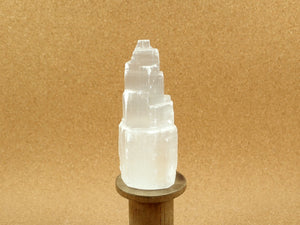 White Selenite Tower Mineral Specimen
