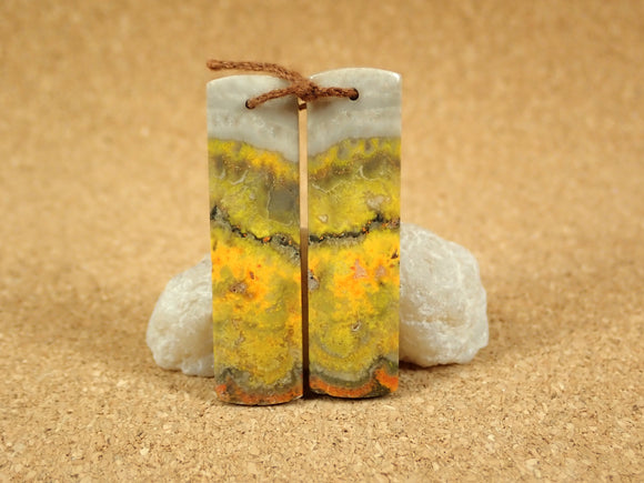 Bumble Bee Jasper Rectangle Matched Pair