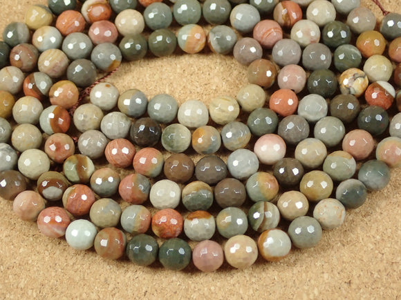 Polychrome Jasper Faceted Round Beads