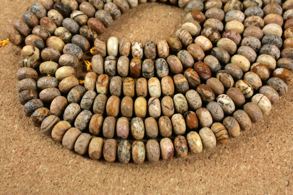 Picture Jasper Rondelle Beads