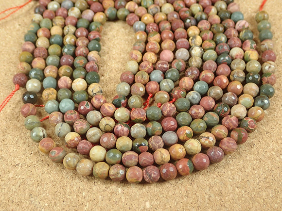 Red Creek Jasper Faceted Matte Round Beads