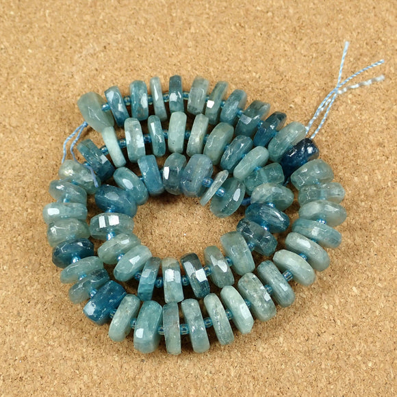 Blue Kyanite Faceted Rondelle Beads