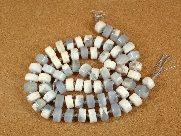 Angel Chalcedony Tube Rondelle Beads