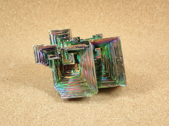 Bismuth Crystal Specimen  - Multicolored Lab Created Metal Display Item, Paperweight, Home Decoration and Gift