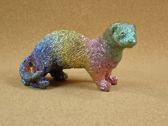 Bismuth Running Meercat Cast Figurine  - Multicolored Cast Metal Display Item, Paperweight, Home Decoration and Gift