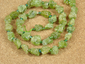 Green Garnet Rough Round Beads