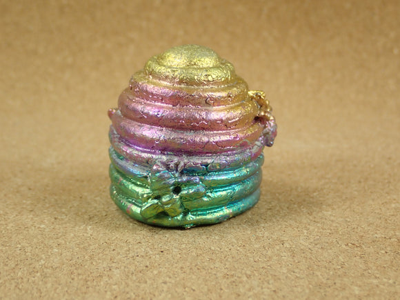 Bismuth Beehive Cast Figurine  - Multicolored Cast Metal Display Item, Paperweight, Home Decoration and Gift